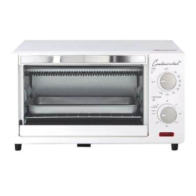 1000 W 4-Slice White Toaster Oven with 60 Minute Timer