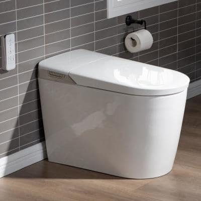 Toscano Intelligent Comfort Height 1-Piece 1.0 GPF /1.6 GPF Dual Flush Elongated Toilet in White, Seat Included