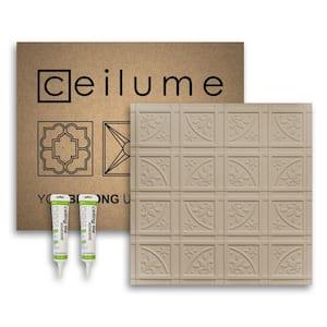 Lafayette 2 ft. x 2 ft. Glue Up Vinyl Ceiling Tile and Backsplash Kit in Latte (21 sq. ft./case)
