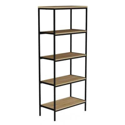 56.75 in. Seacoast Gray/Black Metal 5-shelf Etagere Bookcase with Open Back