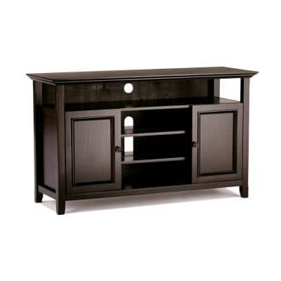 Amherst Solid Wood 54 in. Wide Transitional TV Media Stand in Dark Brown for TVs Upto 60 in.