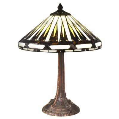 Aston 18.5 in. Antique Bronze Table Lamp with Hand Rolled Art Glass Shade