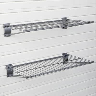 12 in. x 24 in. Metal Garage Wall Shelving in Silver (2-Pack)