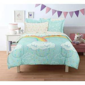 Rainbow Clouds Super Soft Full Bed in a Bag with Reversible Comforter and Sheet Set