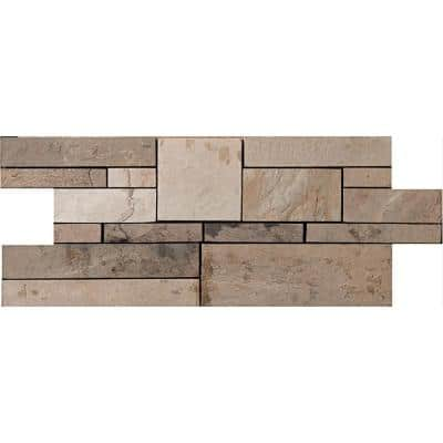 Slate Autumn Lilac Calibrated/Gauged and Honed 6.77 in. x 17.52 in. x 10 mm Slate Mesh-Mounted Mosaic Tile