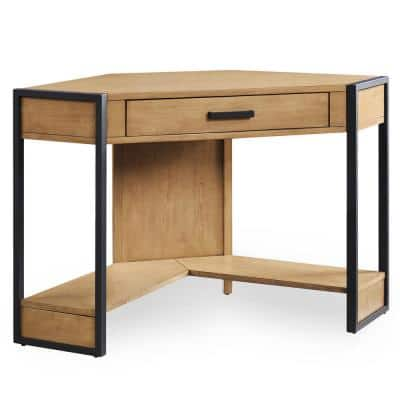 Riley Holliday 23 in. Corner Desert Matte Metal and Wood 1 Drawer Home Office Writing Desk with Adjustable Shelves