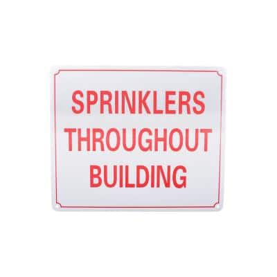 10 in. x 12 in. Aluminum Fire Safety Sign Sprinklers Throughout Building