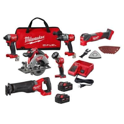 M18 FUEL 18-Volt Lithium-Ion Brushless Cordless Combo Kit (5-Tool) with M18 FUEL Brushless Oscillating Multi-Tool
