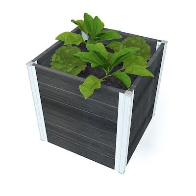 Urbana 22 in. x 22 in. x 22 in. Slate Grey Vinyl Cube Planter