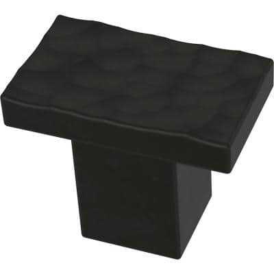 Modern Hammered 1-1/4 in. (32mm) Matte Black Cabinet Knob
