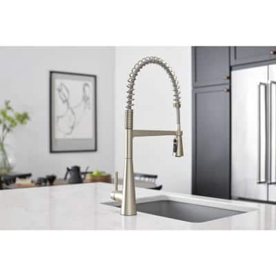 Sleek Single-Handle Pre-Rinse Spring Pulldown Sprayer Kitchen Faucet with Power Clean in Spot Resist Stainless