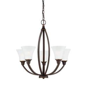 Metcalf 5-Light Autumn Bronze Traditional Transitional Hanging Empire Bell Single Tier Chandelier