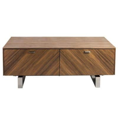 Amelia 48 in. Walnut Veneered MDF Large Rectangle Wood Coffee Table with Drawers