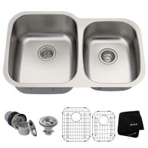 Premier Undermount Stainless Steel 32 in. 60/40 Double Bowl Kitchen Sink