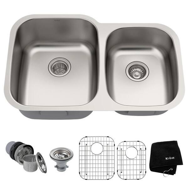 premier undermount stainless steel 32 in 60 40 double bowl kitchen sink