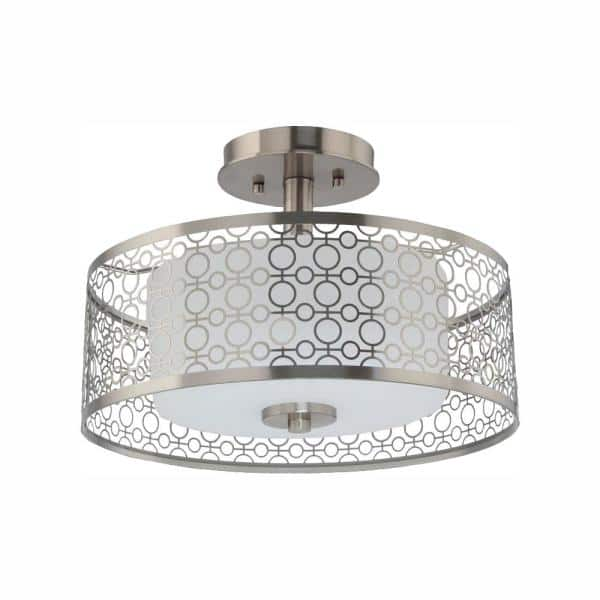 Home Decorators Collection Toberon 14 In 1 Light Brushed Nickel Led Semi Flush Mount Ceiling Light 7914hdc The Home Depot