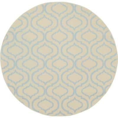 Jubilant Ivory/Blue 5 ft. x 5 ft. Moroccan Farmhouse Round Area Rug