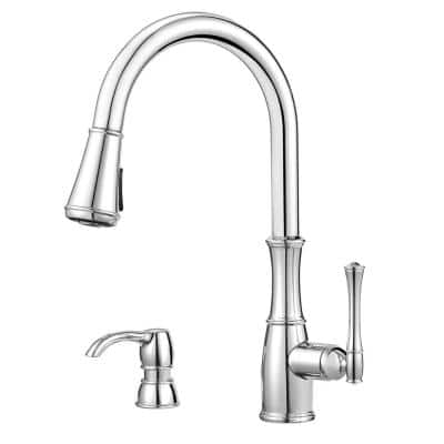 Wheaton Single-Handle Pull-Down Sprayer Kitchen Faucet in Polished Chrome