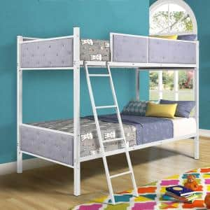 Gray Upholstered Twin Over Twin Bunk Bed Daybed