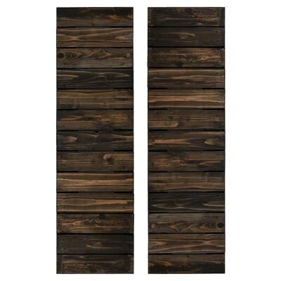 14 in. x 36 in. Wood Horizontal Slat Board and Batten Shutters Pair in Slate Black
