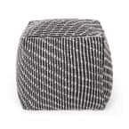 Amboy Black and White Fabric Cube Pouf