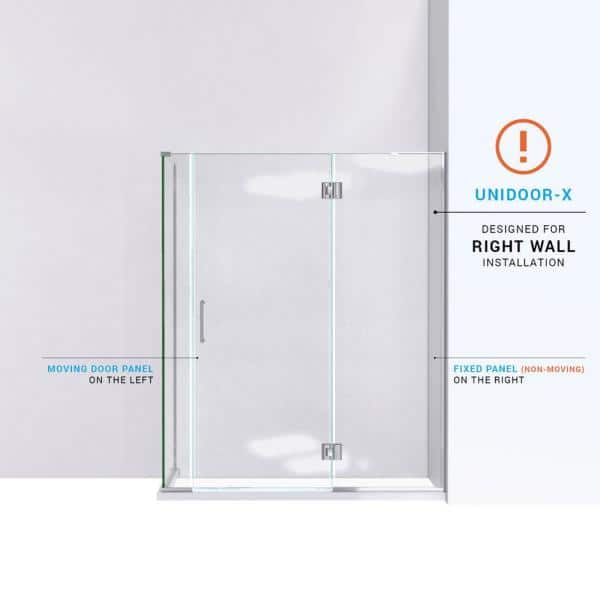 Dreamline Unidoor X 58 In W X 30 3 8 In D X 72 In H Frameless Hinged Shower Enclosure In Chrome E3280630r 01 The Home Depot