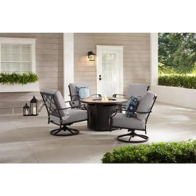 Bowbridge 5-Piece Black Steel Outdoor Patio Fire Pit Seating Set with CushionGuard Stone Gray Cushions