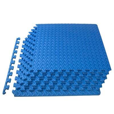 Exercise Puzzle Mat Blue 24 in. x 24 in. x 0.5 in. EVA Foam Interlocking Anti-Fatigue Exercise Tile Mat (6-Pack)