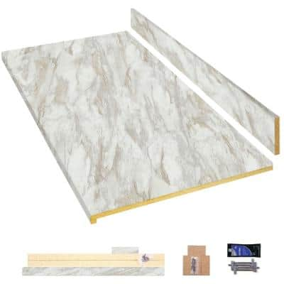4 ft. White Laminate Countertop Kit with Eased Edge in Drama Marble