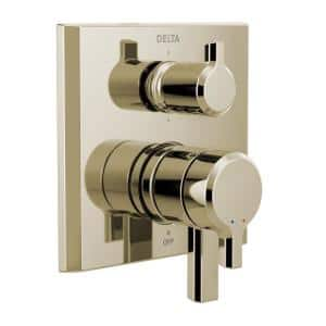Pivotal 2-Handle Wall-Mount 6-Setting Integrated Diverter Trim Kit in Polished Nickel (Valve not Included)