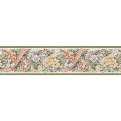Floral Ribbon Pastels Wallpaper Border Sample