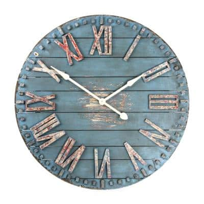 Antique Blue Distressed Roman Numeral Wooden Clock