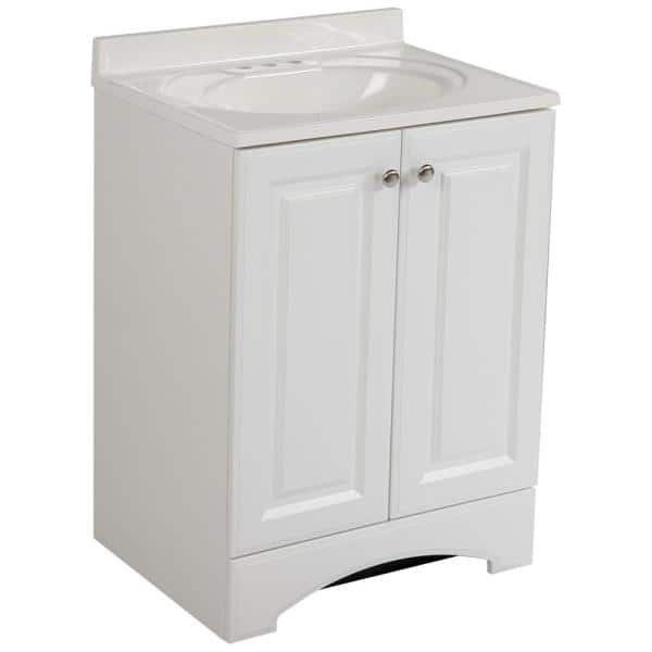 Glacier Bay 24 50 In W Bath Vanity In White With Cultured Marble Vanity Top In White With White Basin Gb24p2 Wh The Home Depot