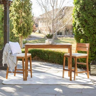Acacia Brown 3-Piece Wood Rectangle Counter Height Outdoor Dining Set with White Cushions