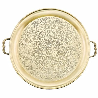 """18 in. Dia """"Cairo"""" Champagne Tone Etched Steel Tray"""