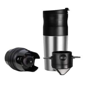 1-Cup Stainless Steel Burr Coffee Grinder and Travel Mug With Coffee Bean Grinder and Pour-Over Brewer Single Serve