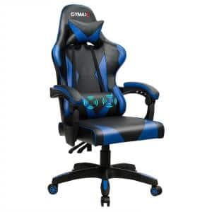 Blue & Black Cool Massage Gaming Chair Reclining Swivel with Lumbar Support