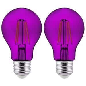 60-Watt Equivalent A19 Dimmable Filament E26 Medium Base LED Light Bulb in Purple (2-Pack)
