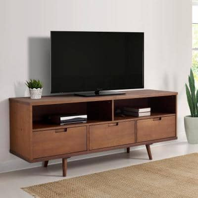 58 in. Walnut Wood TV Stand with 3 Drawer Fits TVs Up to 64 in. with Cable Management