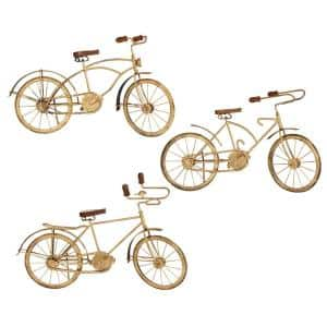 Natural Wood and Gold Metal Vintage Bicycle Sculptures: 19 in. x 19 in. x 18 in. (Set of 3)