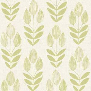 Scandinavian Green Block Print Tulip Strippable Roll Wallpaper (Covers 56 sq. ft.)