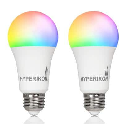 60-Watt Equivalent 3000K A19 Smart LED Light Bulb in RGB Changing Light Color Wi-Fi Connected (2-Bulbs)