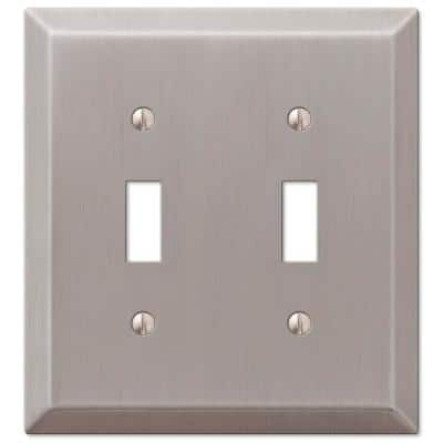 Metallic 2 Gang Toggle Steel Wall Plate - Brushed Nickel