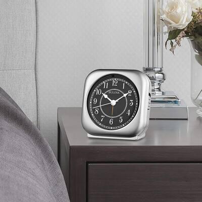 B1871 Silver Tone Silent Knight Non Ticking Movement Alarm Clock