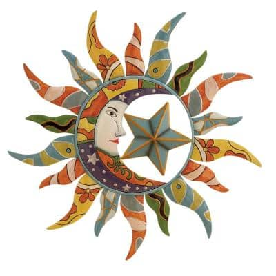 25 in. x 25 in. Multi Colored Metal Eclectic Outdoor Wall Decor