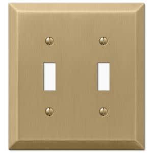 Metallic 2 Gang Toggle Steel Wall Plate - Brushed Bronze