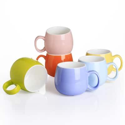 12.5 oz. Assorted Colors Porcelain Coffee Mugs Tea Cups (Set of 6)