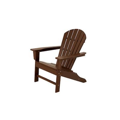 South Beach Mahogany Plastic Patio Adirondack Chair