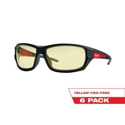Performance Safety Glasses with Yellow Fog-Free Lenses (6-Pack)