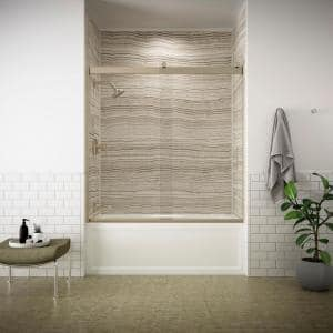 Levity 57 in. x 59.75 in. Semi-Frameless Sliding Tub Door in Bronze frame with Handle